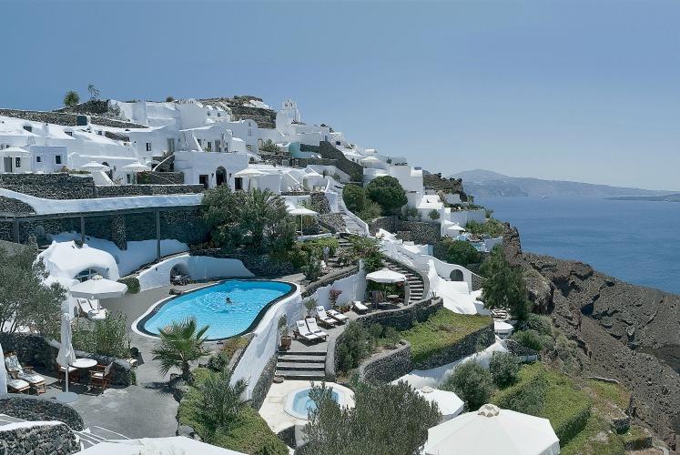 Perivolas pool, Santorini, Greece