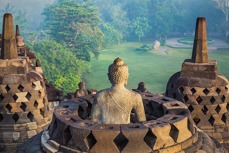 Buddha statue, Borobudur temple, Yogyakarta, Java, Indonesia