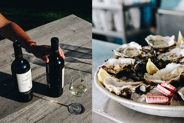 Languedoc wine and oysters