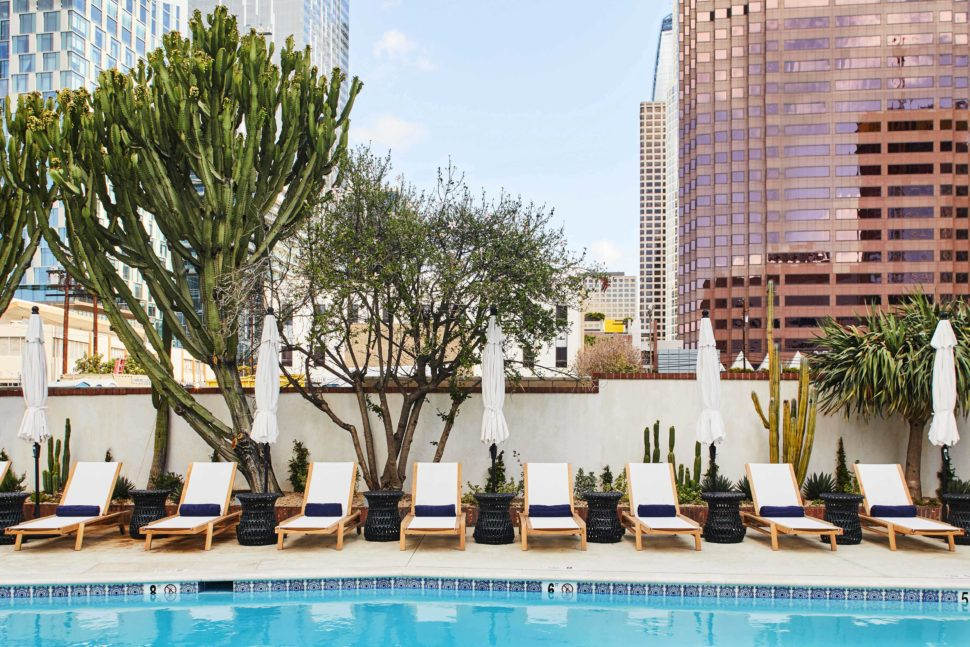 The coffin-shaped pool at Hotel Figueroa, Los Angeles, California